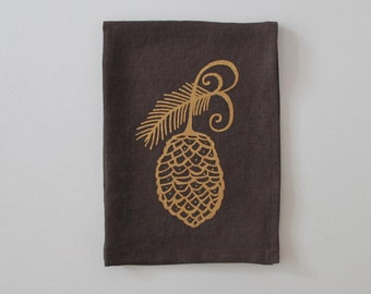 Linen Tea Towel - Pine Cone design - Choose your fabric and ink color