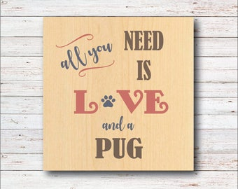 Pug, Pug Wall Decor, Rustic Wall Decor, Typeography, Pug Lover, Birthday Gift, Dogs, Dog Decor, Dog Lover, Home Deocr, Living Room, Hallway