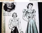 on SALE 25% Off 1930s Vintage Hollywood Pattern Olivia De Havilland, 30s Skirt Pattern, Blouse Pattern, size 14, Bishop Sleeve Blouse Sewing