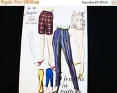 SALE 25% OFF Vintage 1960s Vogue  Pattern size 16 UNCUT Tapered Pants and Shorts Sewing Pattern High Waisted Cigarette Pants Pedal Pushers C
