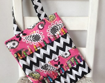 Reduced Pretty Paisley Chevron Pink Crayon Bag Ready to Ship Coloring Tote Girls Birthday Gift Kids Art Bag Crayon Holder