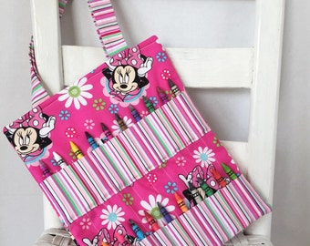Disney Minnie Mouse Striped Pink Crayon Bag Children Coloring Tote Child Crafting Toddler Girl Birthday Gift