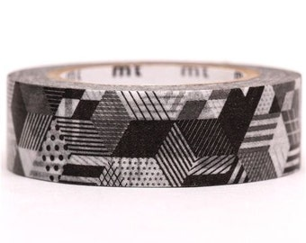 187760 black and white geo print mt Washi Masking Tape deco tape