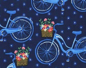 214396 navy blue Michael Miller fabric blue bicycle flower Farmers Market