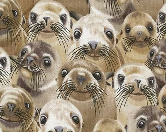 215005 funny cute sea lion fabric by Timeless Treasures