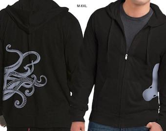 Octopus Hoodie, Kraken screen print, Octopus Steampunk Hoodie, Jersey Zip Hoodie, Gift, Cool Art Hoodie