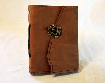 SUMMER SALE:  Light Brown Leather Latch Journal with Recycled Paper- Medium