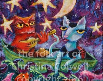 "The Owl and the Pussy Cat  Instant Download 8"" X 10"" printable art from original mixed media contemporary folk art Tuxedo Cat"