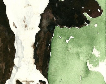 Cow PRINT 11 x 14 paper size PRINT of original watercolor painting Cow print Cow picture Black and white cow print Holstein cow print