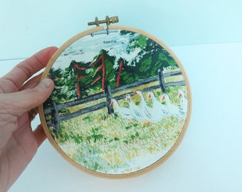 Vintage Bark Cloth Fabric Swatch Portrait Embroidery Hoop Art, Primitive Grandma Moses Landscape, Early Springtime on the Farm, Geese