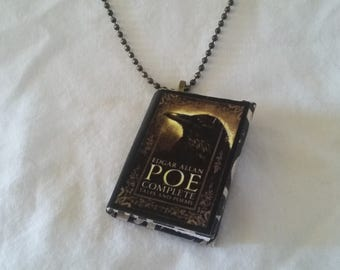 Edgar Allan Poe Jewelry - Mini-Book Pendant - The Complete Works of Edgar Allan Poe  - The Raven - Gothic Necklace - Antique Bronze Necklace