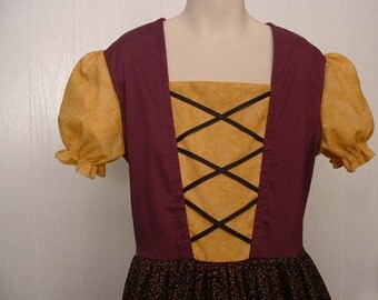 Peasant  Dress Renaissance Faire Sound of Music Medieval Historical Heidi Fair Maiden Theater Costume Girls Size 12/14  Ready to Ship