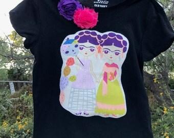 SALE! FRIDA Kahlo Esperanza Dual Fridas Girls Embellished Black TEE Size 8 Ready-to-Ship