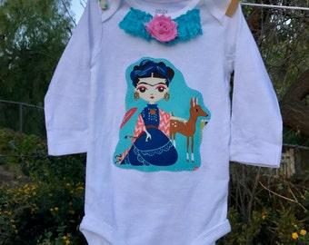 SALE! FRIDA Kahlo Deer Esperanza BABY Girls Embellished Bodysuit Size 6 Months Ready-to-Ship