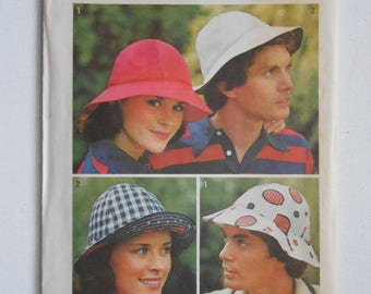 1970s Simplicity 6250 Misses and Men's Brimmed Hat Vintage Sewing Pattern One Size