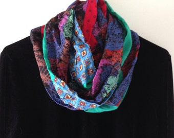 2 Infinity scarf, women's cowl woven fashion with hearts, cotton blend red blue teal green purple black, Bohemian Lhasa i367 Valentine's Day