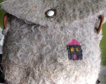Felt handbag, crossbody shoulder bag with felted house, Bohemian gray wool felt purse, boho i897 Life's an Expedition needle felted