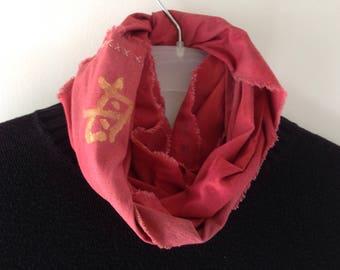Tribal scarf, Japanese Kanji symbol, long rustic hand dyed red cotton infinity, men women, Bohemian boho grunge Lhasa Asian i912