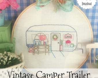 "Monthly Vintage Camper Trailer Embroidery Series March - 6"" Hoop and Quilt Art"