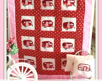Miniature Vintage Camper Trailer Quilt Block and Pillow PDF Sewing Pattern