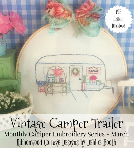 """March Monthly Vintage Camper Trailer Embroidery Series - 6"""" Hoop and Quilt Art"""
