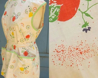 1930s Citrus Motif Apron // Kitchen Smock