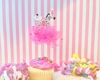 Party Pink Zebra Cupcake Topper