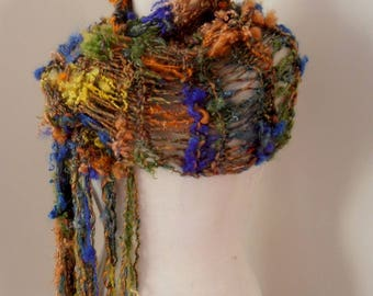 scarf  Hand Spun Hand Knit Scarf multicolor merino kid mohair locks by plumfish