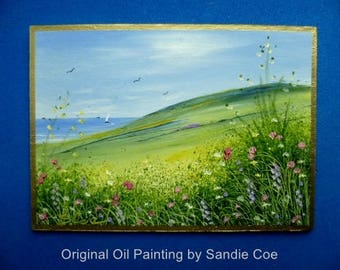 Original Miniature Oil Painting  . ACEO 3.5 x 2.5 inches  . Coastal Path by Sandie Coe