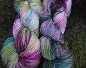 Handpainted sock yarn, fingering yarn, Superwash Merino Tencel Nylon, 100 grams-Carousel