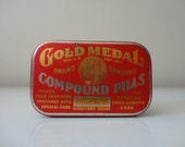 VINTAGE gold medal compoud pill TIN CONTAINER