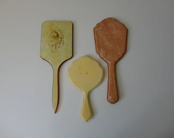 VINTAGE collection of 3 celluloid HAND MIRRORS - as found