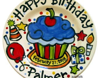"10"" or 7"" CUSTOM ceramic Birthday Cake Plate Personalized birthday theme cupcake by Artzfolk"