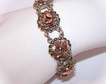 Vintage Greek 800 SILVER, Rose Gold & Marcasite Link Bracelet by Skiathitis Bros
