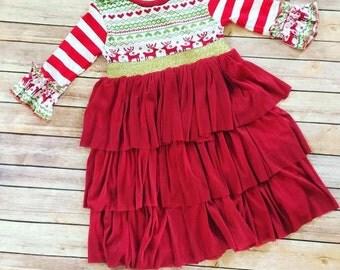 Red Ruffle Fair Isle Reindeer Dress - Christmas Dress, Handmade Dress, Girls Holiday Dresses, Reindeer, Deer head