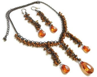 Vintage Orange Faux Crystals and Beads Dangle Bib Necklace and Earrings Set