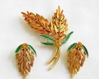 Vintage Orange and Green Enamel with Topaz Rhinestone Demi Parure Leaf Earrings and Brooch