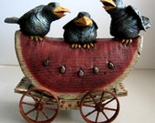 Crow, Figurine, American Chestnut, Threes a Crowd, Watermelon, Collectible, Vintage