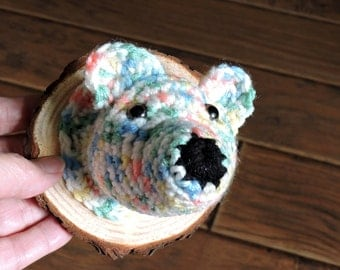 Crochet taxidermy Polar Bear...Pastel..nursery decor...arctic..mount..Northern Lights..cabin decor..rustic..wood slice..wall decor