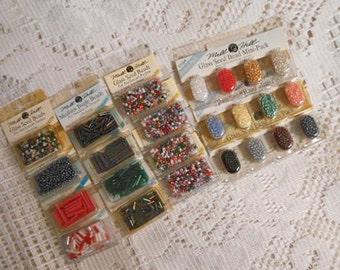MILL HILL BEAD Lot for Jewelry Making, 12 Packets + 3 Mini Packs Glass Seed, L M S Bugle Cord Many Multi Colors Sealed Unused Vintage Japan