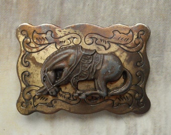 Distressed Horse Belt Buckle Small Country Western Boho Cowboy Cowgirl Vintage