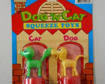 Dog and Cat Squeeze Toys Vintage NIP Old Stock Children Kids New Puppet Yellow Green