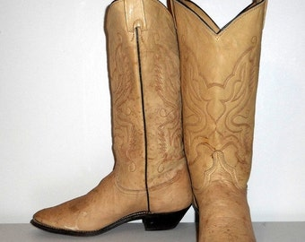 Womens 7 M Cowboy Boots Grungy Off White Light Tan Boho Western Cowgirl Vintage Indie