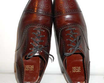 Vintage Nunn Bush Mens Size 12 D Brown Leather Loafers Dress Shoes Laces