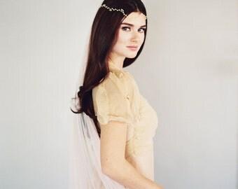 Bridal Veil, Wedding Veil, English Net, Ivory, White, Blush, Champagne, Simple Soft Sheer Fabric Classic Veil, Little Something 0801 EN