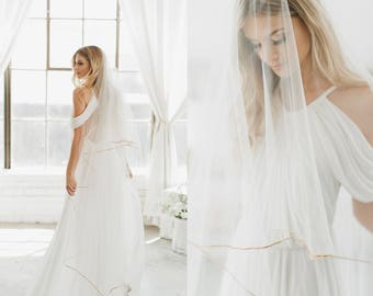 Gold Pencil Edge Bridal Veil, Ribbon Edge Wedding Veil, Drop Bridal Veil, Double Layer Veil, Waltz Length Veil, Gold Veil, Cathedral, 1620