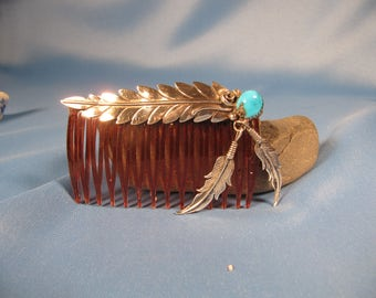 SILVER and TURQUOISE Hair Comb, Native American Vintage Silver and Turguoise Hair Comb with feather Symbol,Native American Feather Hair Comb