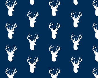 White on Navy Deer Head Fabric - White Deer On Navy By Modfox - Navy Woodland Nursery Decor Cotton Fabric By The Yard With Spoonflower