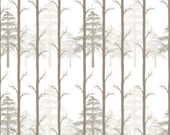 Forest Trees Fabric - Forest Trees By Teart - Gender Neutral Woodland Forest Nursery Decor Cotton Fabric By The Yard With Spoonflower