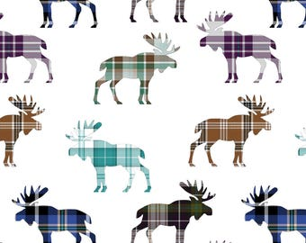 Plaid Moose Fabric - Plaid Moose Iii // Sylvan Shoppe By Thin Line Textiles - Woodland Nursery Cotton Fabric by the Yard With Spoonflower